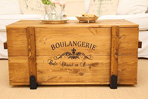 Truhentisch Boulangerie shabby chic Frachtkiste vintage Transportkiste, hellbraun, 98x55x46cm - 2