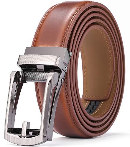KAERMU Gürtel Herren,Ledergürtel Herren Ratsche Automatik Gürtel für Männer 30mm Breit (braun C4, Länge 130cm Geeignet für 28