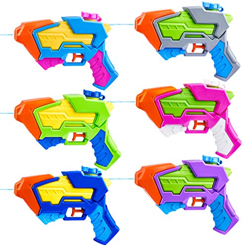 6 Pack Aqua Phaser Assorted Water Pistols Water Guns in 6 Colors, Water Blaster Water Soaker Squirt...