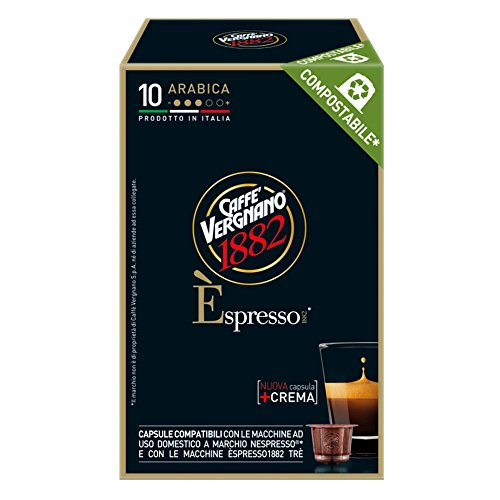 Caffe' Vergnano 1882 Èspresso Arabica Compatibili Nespresso, 10 Capsule