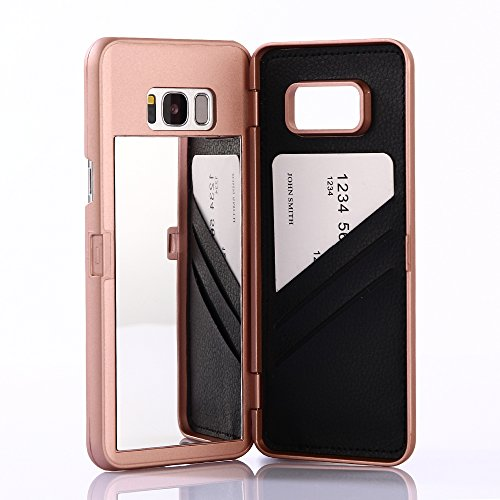 W7ETBEN Galaxy S8 Case, Hidden Back Mirror Wallet Case with Stand Feature and Card Holder for Samsung Galaxy S8 (Rose Gold)