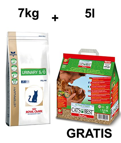royal canin Urinary S/O LP 34 7 kg + GRATIS Cat' s Best Öko Plus Gatto diffusa 5L (2,25kg)