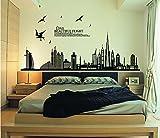 ufengke® - Adhesivo negro para pared con silueta de ciudad, paisaje urbano, rascacielos para decoración mural de dormitorio, sala de estar, extraíbles
