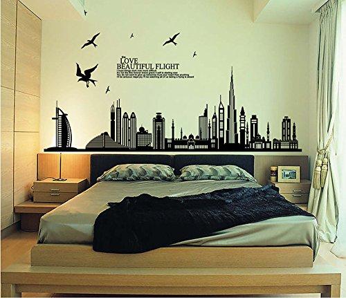 Adhesivo negro para pared con silueta de ciudad, paisaje urbano, rascacielos para decoración mural de dormitorio, sala de estar, extraíbles