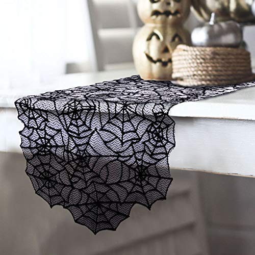 "AerWo 80""×20"" Polyester Lace Halloween Table Runner, Large Black Spider Web Table Runner for Halloween Dinner Parties and Scary Movie Nights Table Decoration"