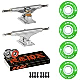 Skateboard Package Independent 169 Trucks 53mm 83A Green Cruiser Wheels Bones Reds