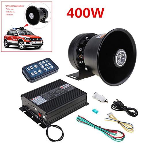 Set de 12 V 400 W 8 sonido fuerte alarma de coche alarma policía sirena bocina micrófono sistema Kit