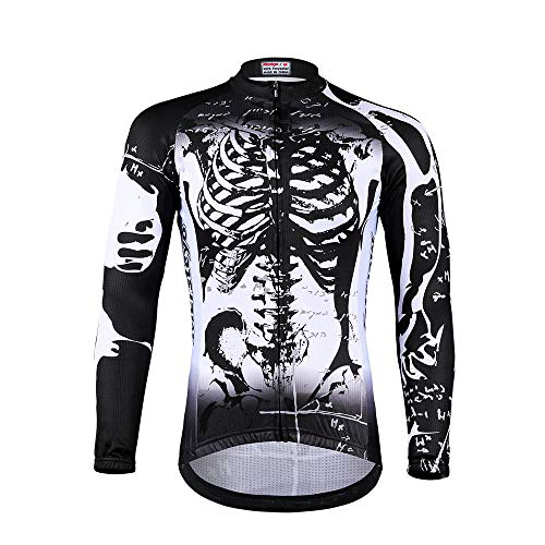 CNAJOI-TDFY Maillot Bicicleta Hombre, Maillot Ciclismo con Mangas Largas con Bolsillos Camiseta,...