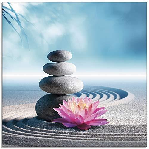 Artland Glasbilder Wandbild Glas Bild einteilig 30x30 cm Quadratisch Asien Wellness Zen Steine Sand Blumen Lotusblume Spa Entspannung Blau S5XU