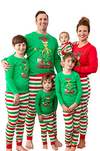 the whos Dr. Seuss Grinch Merry Grinchmas! Matching Family Adult And Kids Pajama Set Outfits