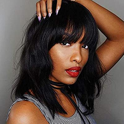 AISI HAIR Bob Curly Wig Synthetic Short Black Wig with Bangs Natural Looking Heat Resistant Hair