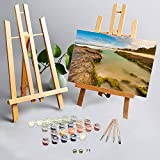 Paint by Number Kits for Adult Beginner Kids, Gold Coast Amazing Sea Scape DIY Digital Oil Painting Kit Framed Canvas Kit Wooden Frame Art Wall Decor 16'x20'