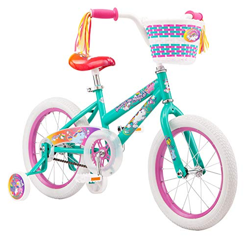 Pacific Unicorn Character Kids Bike, 16-Inch Wheels, Ages 3-5 Years, Coaster Brakes, Adjustable Seat, Mint Green, One Size