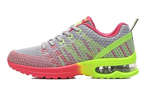 Donna Scarpe da Running Sportive Corsa Sneakers Ginnastica Outdoor Multisport Shoes Rosso Grigio 36