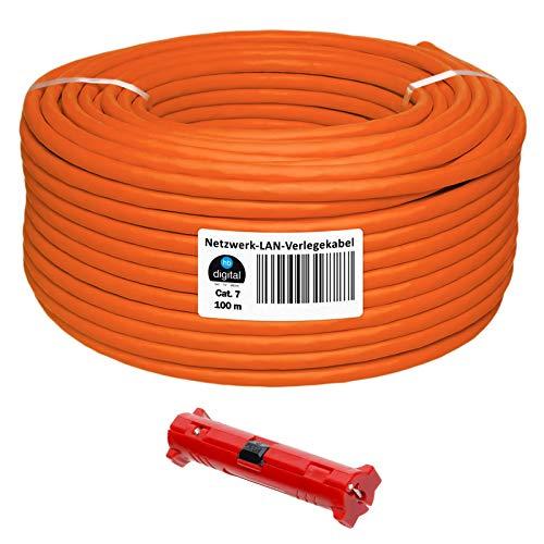 HB-DIGITAL 100m Netzwerkkabel Cat 7 LAN Verlegekabel Ethernet Installationskabel Kupfer Profi + Abisolierer (groß) S/FTP PIMF LSZH Halogenfrei Orange RoHS-Compliant Cat. 7 AWG 23/1