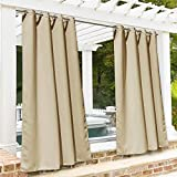 RYB HOME Patio Curtains Outdoors - Waterproof Heat UV Shade Thermal Insulated Vertical Blind for Porch Gazebo Canopy Pergola Garage Sun Room Decor, 52 Width x 95 inch Length, 1 Panel, Beige