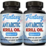 (2-Pack) Pure Antarctic Krill Oil 1000mg with Astaxanthin 120 Caps Omega 3 6 9 - EPA DHA - 100% Purified, Mercury Free and Wild Caught - Non GMO - Gluten Free - Pure Krill Oil
