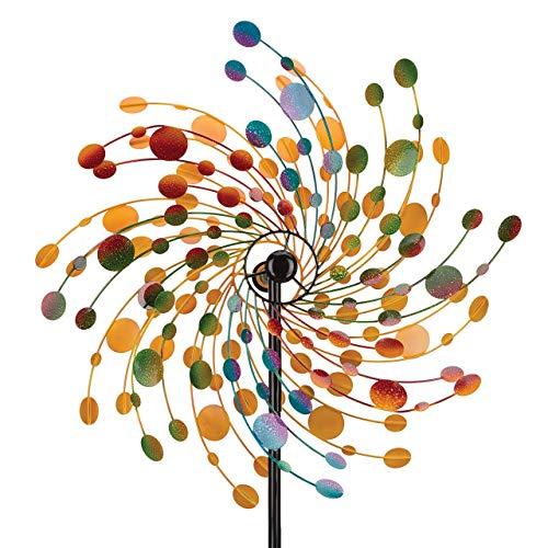 CIM Metall Windrad - Kinetic Spinner 76 - Confetti - Abmessung: Ø76cm Gesamthöhe: 214cm - wetterfest, pulverbeschichtet, lackiert – attraktive Gartendeko