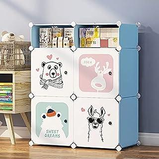 Tarkan Kids Wardrobe Closet, DIY Modular Storage Organizer with Doors, Sturdy & Safe (Blue)