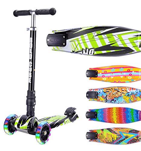 BOLDCUBE Dreirad Roller mit PU LED Räder - ab etwa 5 Jahre - 4 Stufen Einstellbare Höhe - faltbar - der sichere Premium Kinder Roller - TÜV geprüft Kickboard Tretroller (Grün)