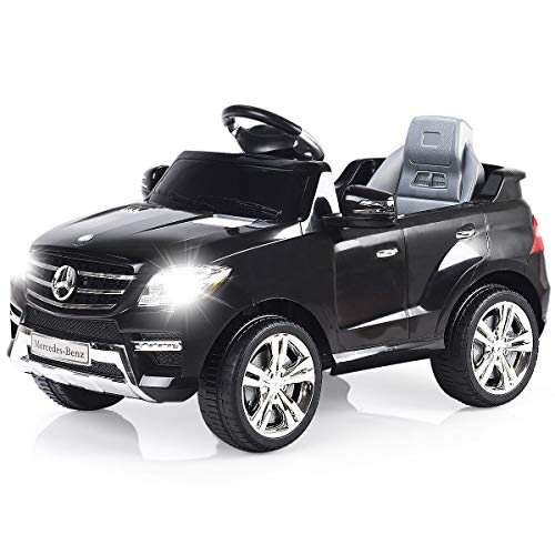 Costzon Ride On Car, Licensed Mercedes Benz ML350 6V Electric Kids Vehicle, 2WD Powered Manual/Parental Remote Control Modes Car with Microphone, Lights, MP3, USB, TF, Music, Horn for Kids Black