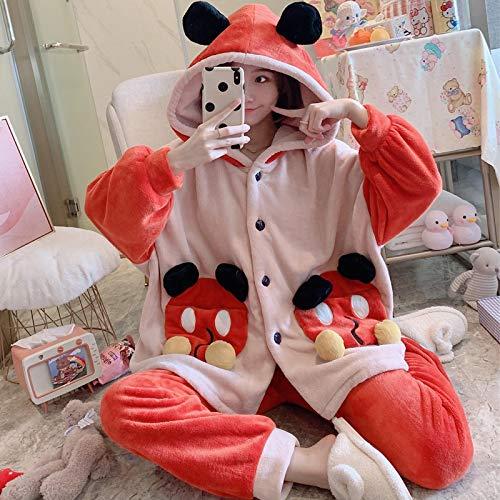 STJDM Bata de Noche,Ropa de Dormir para Mujer Pijamas de Invierno Tallas Grandes XXXL Pijamas de Franela Moda para el hogar Camisón con Capucha de Dibujos Animados Coral Cardigan XXXL 41506
