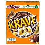 Kellogg's Krave Choco & Nuts - Cereales de almohadillas de arroz, avena y trigo, con sabor a cacao y rellenas de fundido de chocolate y avellanas- Paquete 375 g