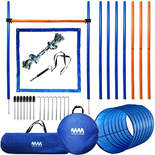 MIDAS MARS Dog Agility Equipment – Obstacle Course for Dog Training – Includes Dog Tunnel, Weaving Poles, Stake, Hurdle – Agility Training Equipment for Dogs and Breeds