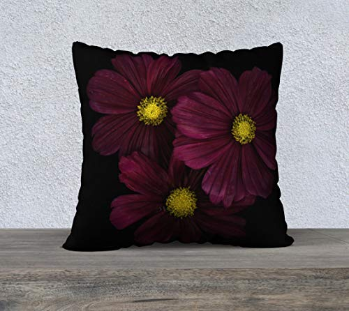 DKISEE Funda de almohada cuadrada de lino de algodón de 60,96 cm, suave funda de cojín con flores de color morado