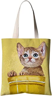 Chyela Shopping Tote Bag, Heavy Duty Reusable Grocery Bag Large Capacity Polyester Shoulder Bag Lovely Kitty
