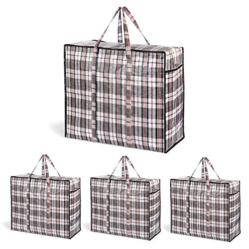 VENO 75L Extra Large Storage Bag (Set of 4) With Durable Zipper, Organizer Bag, Moving bag, Water Resistant, Carrying Bag, Camping Bag for Clothes, Bedding, Comforter, Pillow, Moving (Black Checkered)