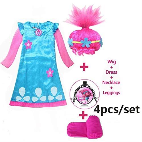 CHNWSJ kostuum voor Halloween-kinderkostuum meisjesjurk troll klaproostuum jurk voor meisjes Halloween-kostuum voor kinderen carnaval 150 Sky Blue
