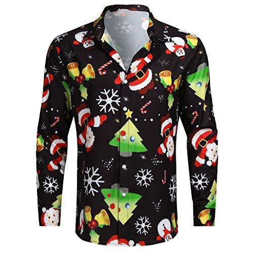 iHAZA Noël Chemise Homme Shirt Imprimé de Bonhomme Tops Chemise Lin Slim Fit Manche Longue Florale 3D Mode Shirt Chemise