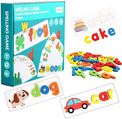 Juego de letras de madera a juego,Juego de alfabeto de ortografía en inglés de cartón,Juego de alfabeto de ortografía de madera,Juguete educativo de regalo de educación temprana para niños de 3 años