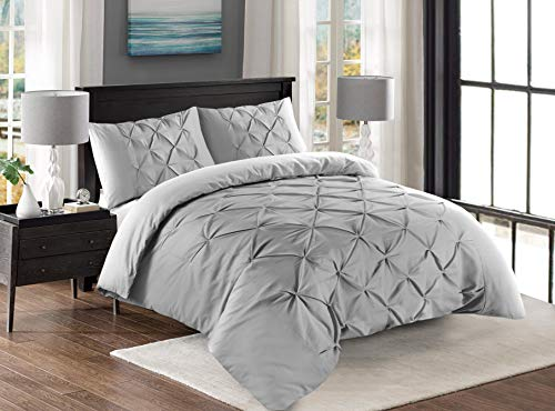 Cloe' Louis Duvet Covers Set Pintuck Pinch Pleat Double Bed Duvet Cover Sets with Pillow Cases (King, Silver)