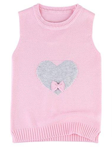 EOZY Baby Mädchen Strickweste Baumwolle Kleinkind Herz Weste Pullover Pink 90