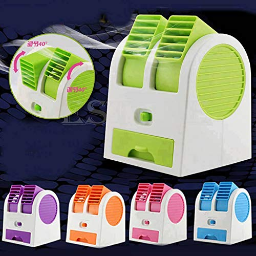 HNYR Portable Mini Water Air Cooler/Mini Fan/Mini Air Conditioner   Best for Office/Car/Home   USB & Battery operated   Bladeless Small Cooler, Dual Air Vents along with USB Cable (Assorted Colors)