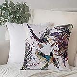 Funda de almohada, funda de cojín Set de colibríes, arte con flores de lirio Pájaros y salpicaduras de color en acuarelas Decoración del hogar Funda de cojín Cuadrado acogedor para sofá Funda de almoh