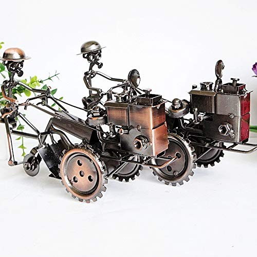 DAMAI STORE Hierro Forjado Adornos De Época con Textura De Metal Tractor Modelo Deslizable Regalo Artesanal Giratorio (Color : Black)