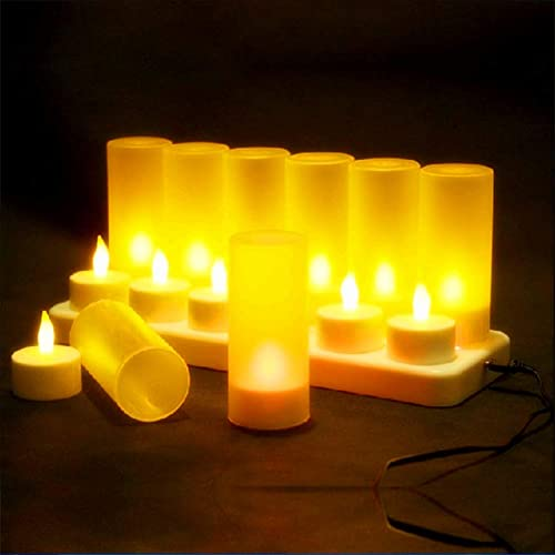 LACGO Pack of 12 LED Flameless Candles, Rechargeable Tea Light Candles Lamps with Holders Charging Station for Party ...