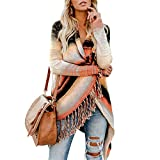 Exlura Women's Open Front Knitted Tassel Cardigan Stripes Slash Hem Loose Sweater Poncho