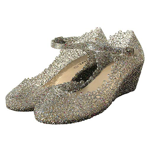 Sicneka Women's Crystal High Heels Jelly Wedge Sandals Glass Slipper Shoe (4.5 Women, Black)