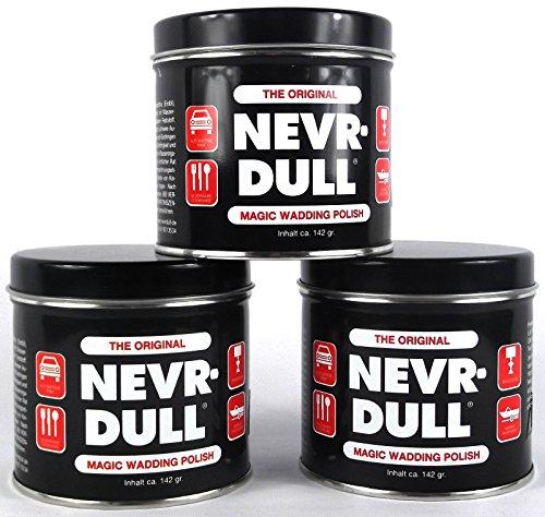 3x NEVR DULL Polierwatte für Chrom, Alu, Messing und andere Metalle 142 g