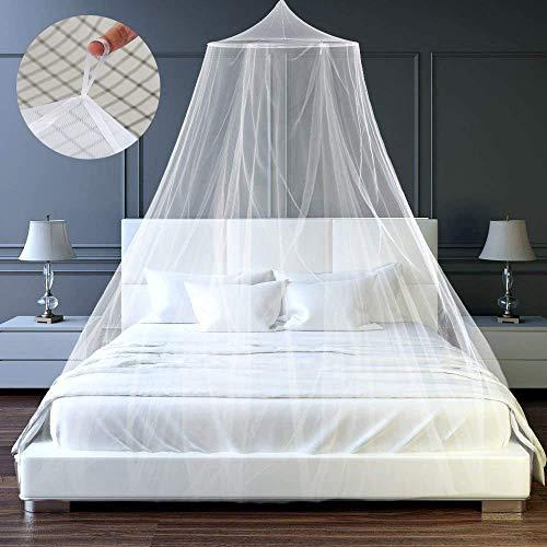 HM514 - Mosquitera grande para cama, fácil instalación para colgar cama, cama doble, cama individual, ideal para decoración de dormitorio, viajes, camping