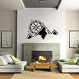 Opprxg Brújula Alpina al Aire Libre Etiqueta de la Pared Mural niños y Adolescentes decoración de la Sala de Estar decoración del hogar Pegatinas 92x57 cm