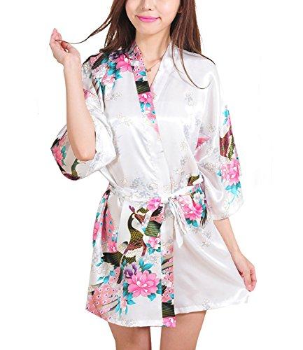 FAYBOX BRIDAL Damen Satin Kimono Kleid mit Pfau und Blumen Print, V-Ausschnitt, halbe Hülse,...