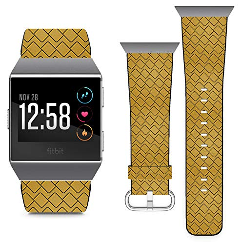 Compatible with Fitbit Ionic - Replacement Leather Wristband Watch Band Strap Bracelet for Men and Women - Yellow Black Elements Geometric