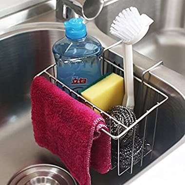 TuuTyss Stainless Steel Large Capacity Hanging Sink Caddy Organizer Sponge Holder Rack for Kitchen with Dish Cloth Rod
