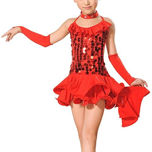FEOYA - Vestido Danza Latina Niña Traje Lentejuela Baile Tango Salsa Deportivo Salón con Accesorios
