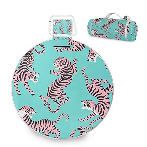 Manta grande para picnic al aire libre, linda alfombra de picnic de tigres para la familia, camping en la playa, parque de playa, asa redonda de 59 pulgadas